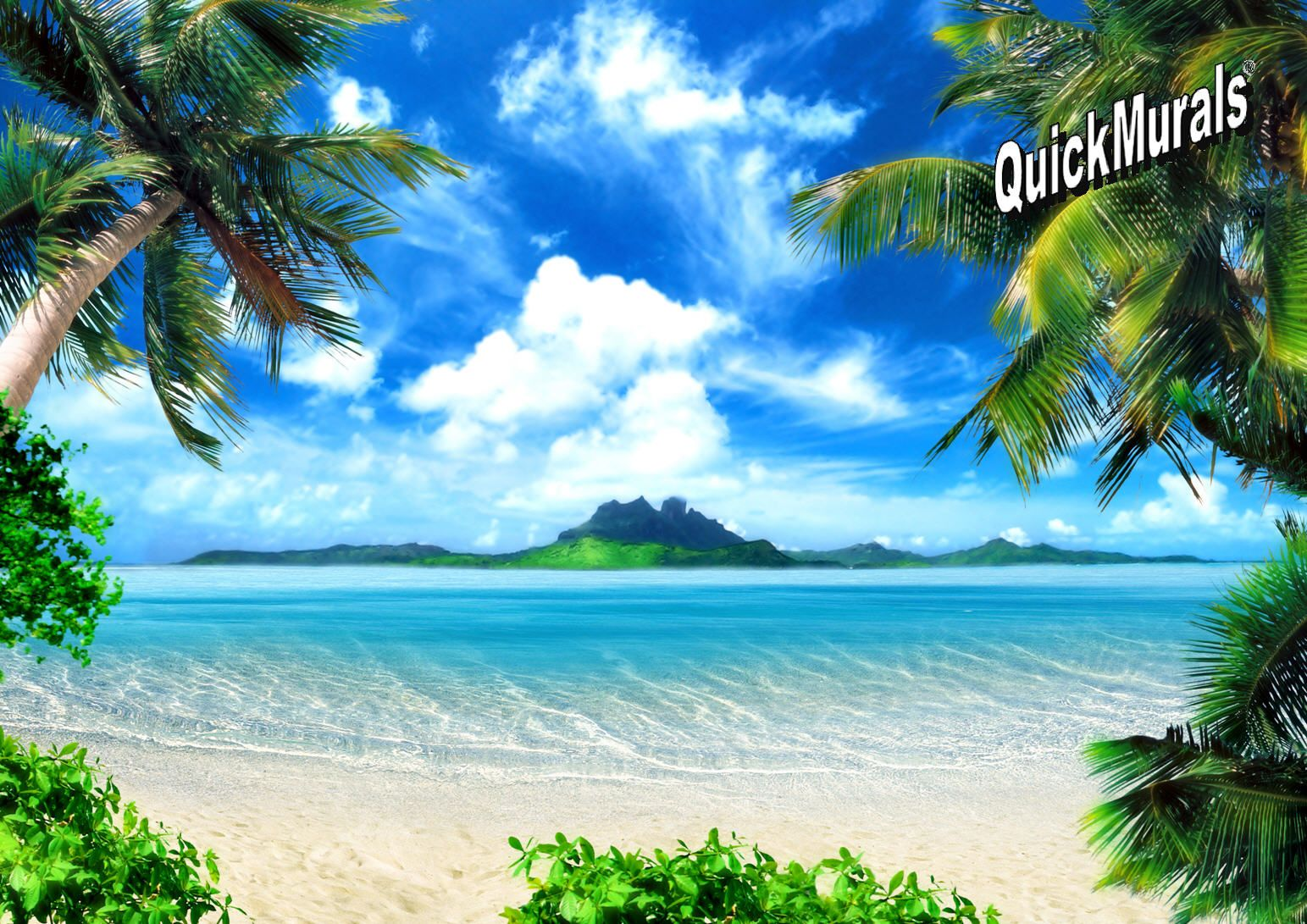 Enchanted Island Peel And Stick Wall Mural With Images Beach Backdrop Beach Background Beach Wallpaper