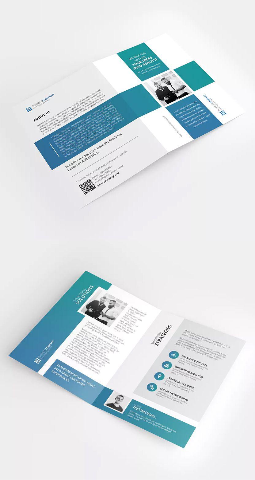a4 bi fold brochure template psd clean and modern layout cmyk