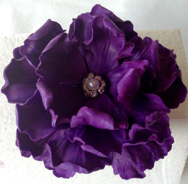 Custom sugar anniversary purple peony flower cake topper