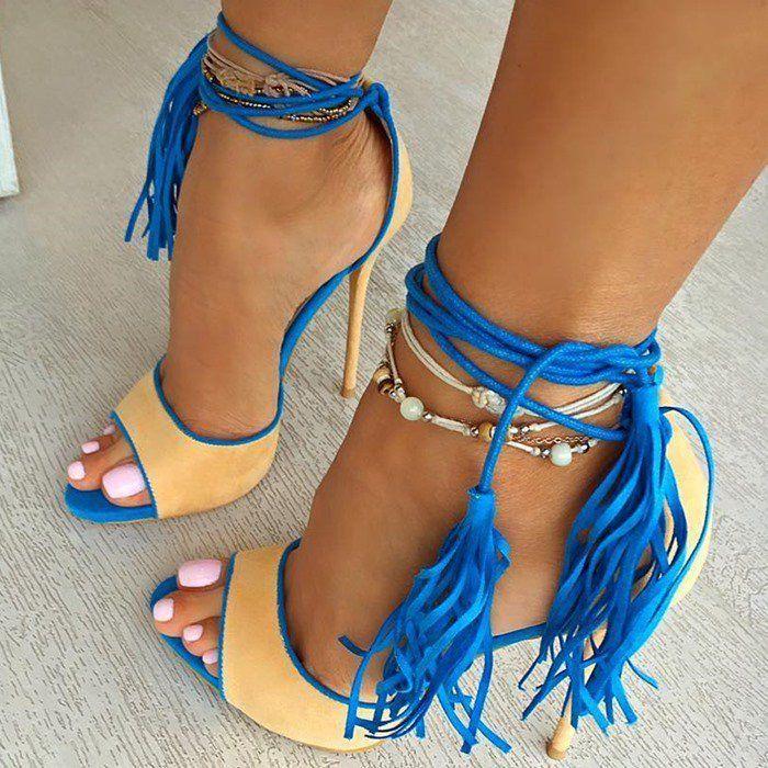 9e6e9e60d8f FSJshoes - #FSJ Shoes Women's Blue Yellow Stiletto Heels Tassels ...