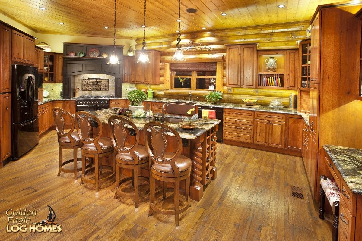 Log home interior ideas log home by golden eagle log homes  kitchen prep area view