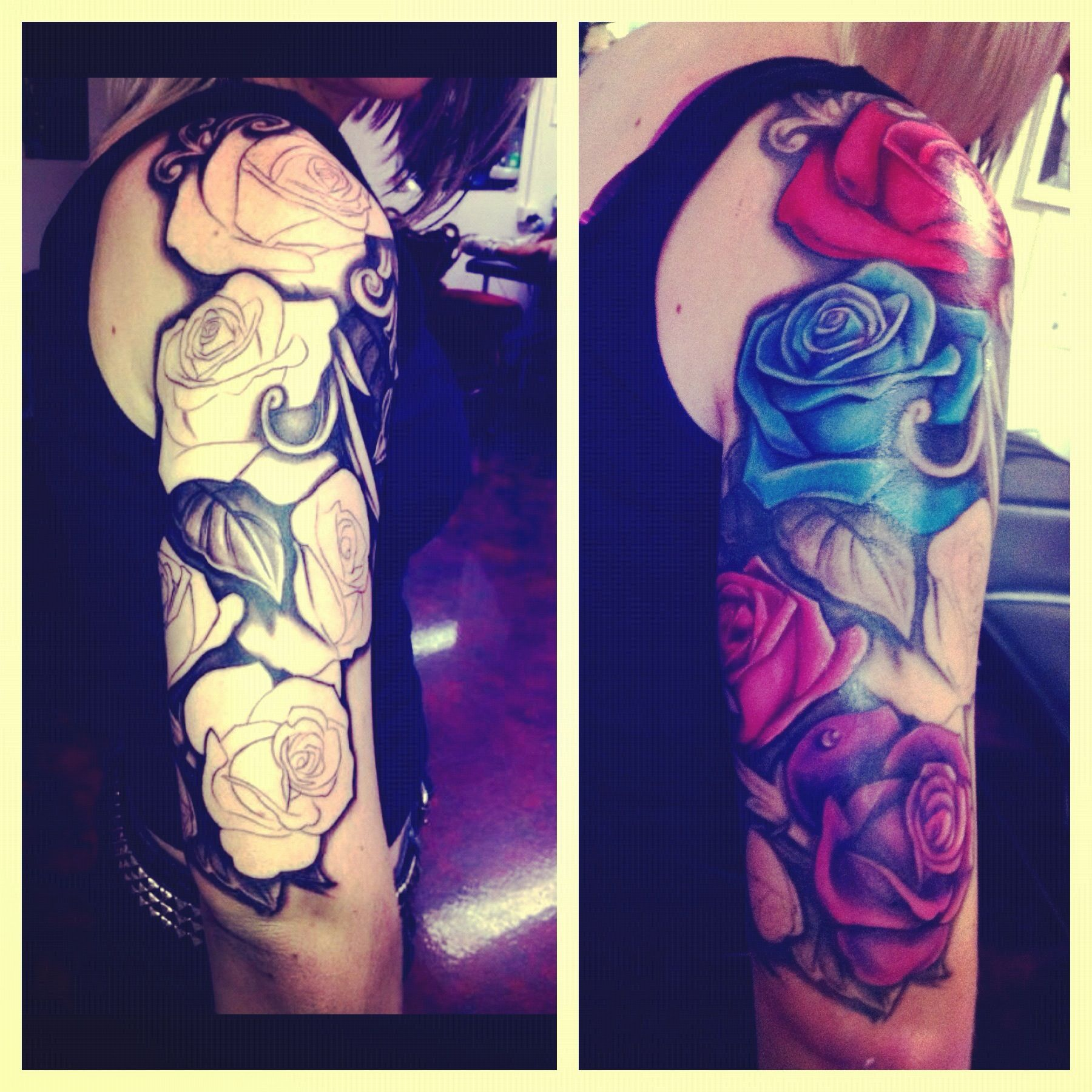 Rose half sleeve tattoo leafs black and white Colorful