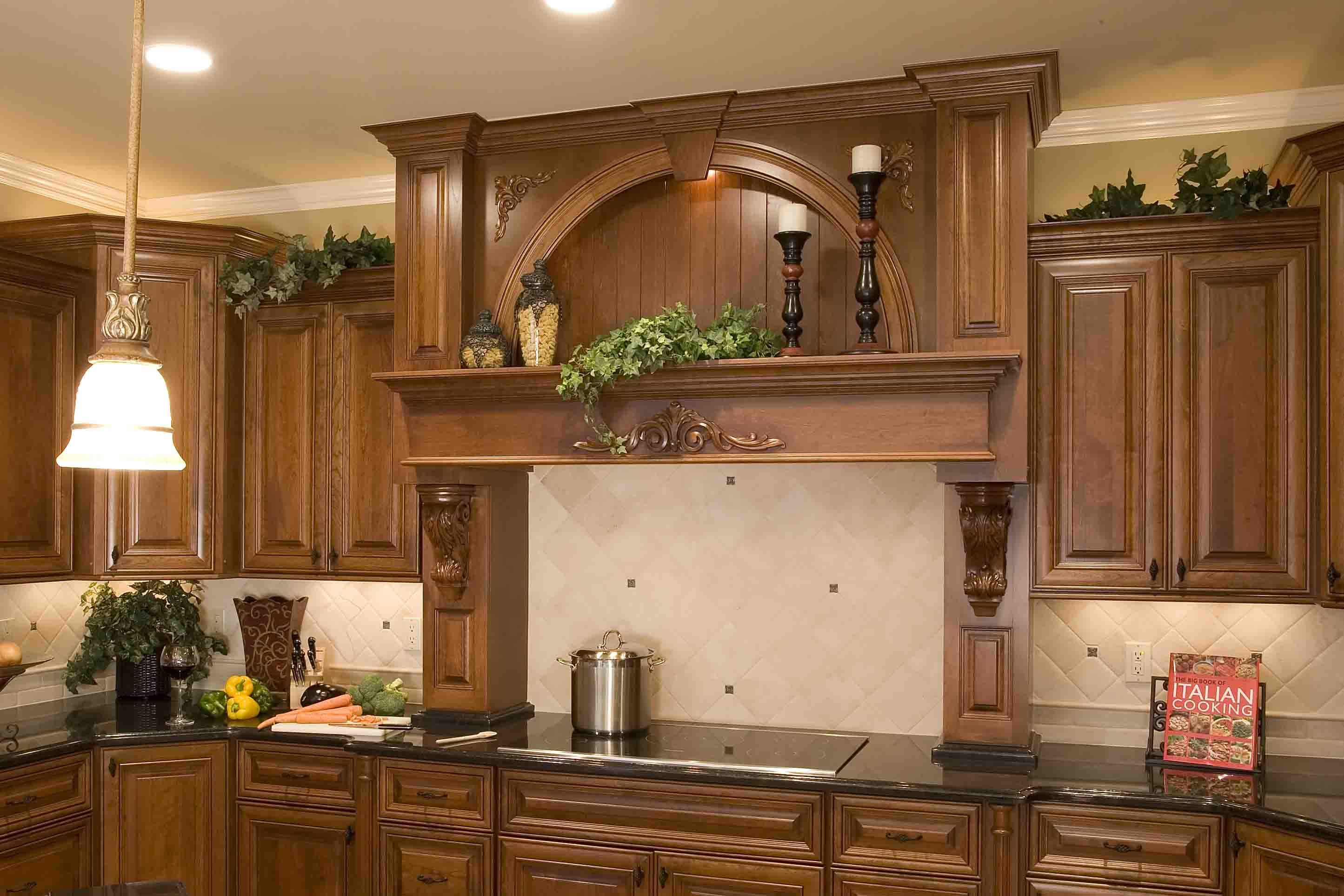 Kitchen Cabinet Over Stove | Wood Range Hood With Display Niche