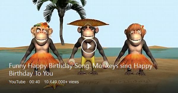 funny happy birthday song monkeys sing happy birthday to - 600×315