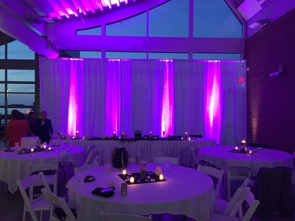 Elegant white drapes eriepa bayfront wedding venue