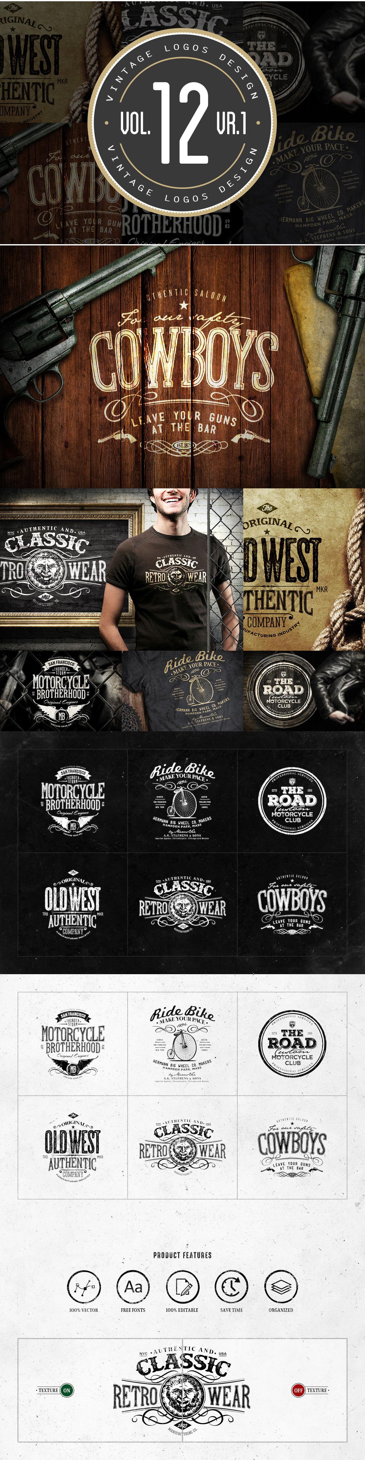6 vintage logos design template psd badges sticker template