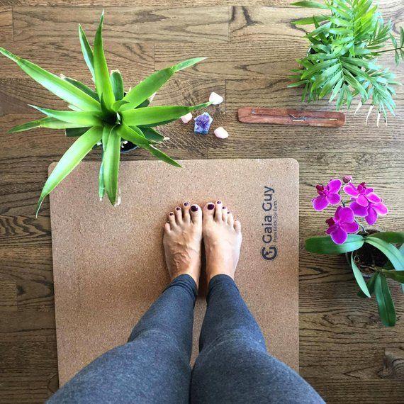 Travel Cork Yoga Mat + Natural Rubber - 72 x 24 x 3mm (4.1lbs) - Portable, Light, Best Non-slip Mobile Mat! #corkyogamat