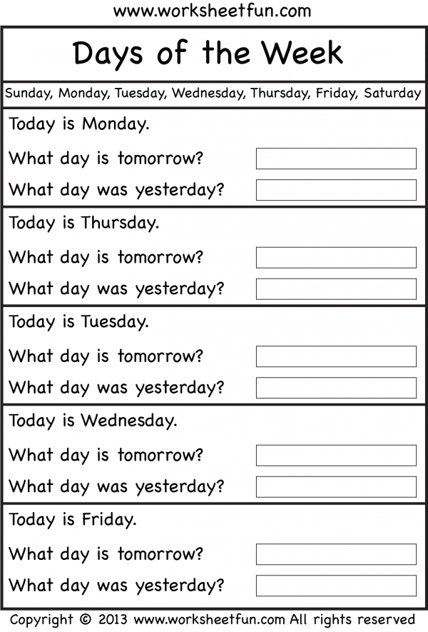 Days Of The Week Worksheet Free Printable Worksheets Worksheetfun English Lessons For Kids School Worksheets English Grammar Worksheets