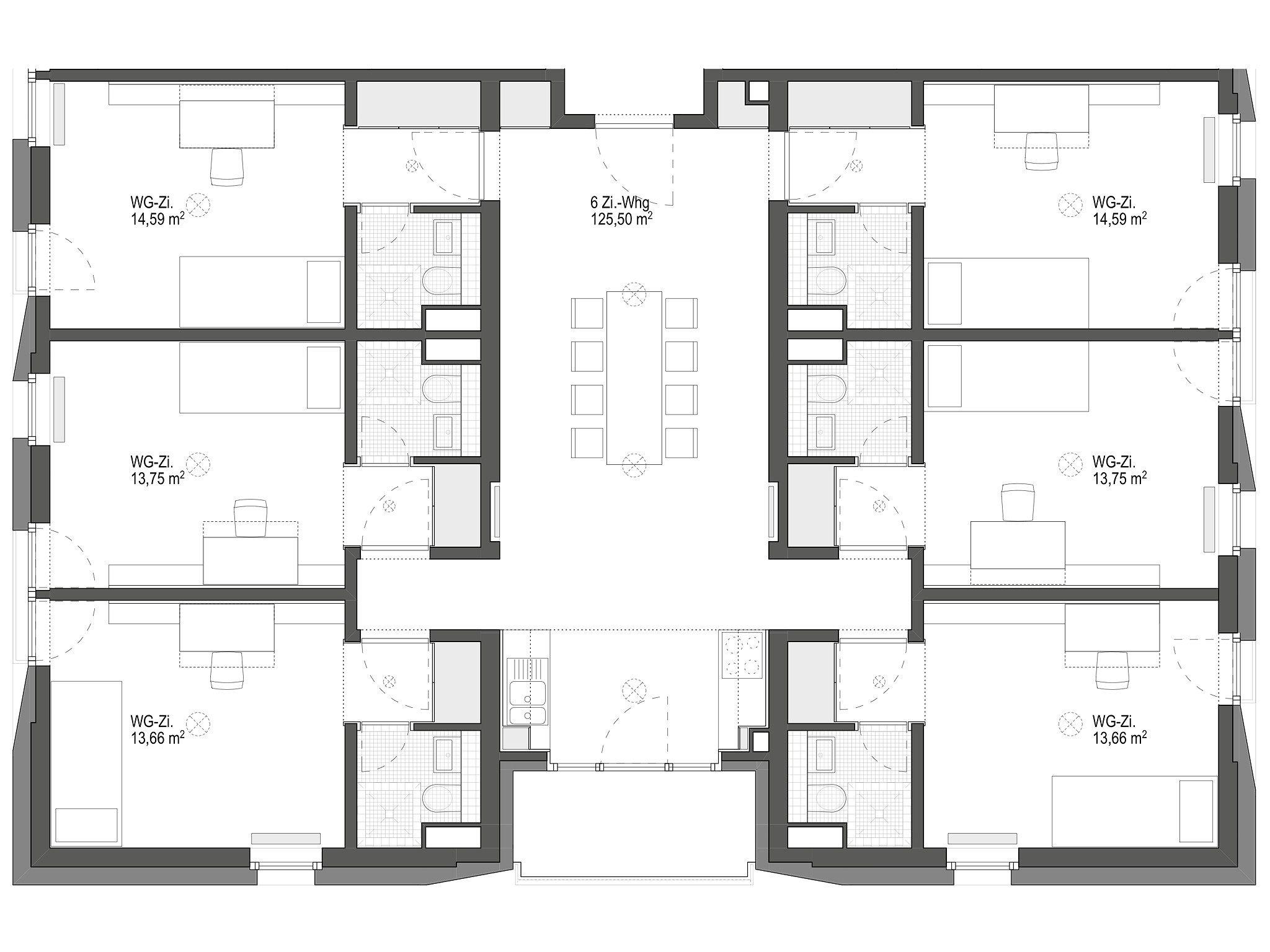 6 zimmer wohngemeinschaft geier maass architekten wohnungsbau pinterest. Black Bedroom Furniture Sets. Home Design Ideas