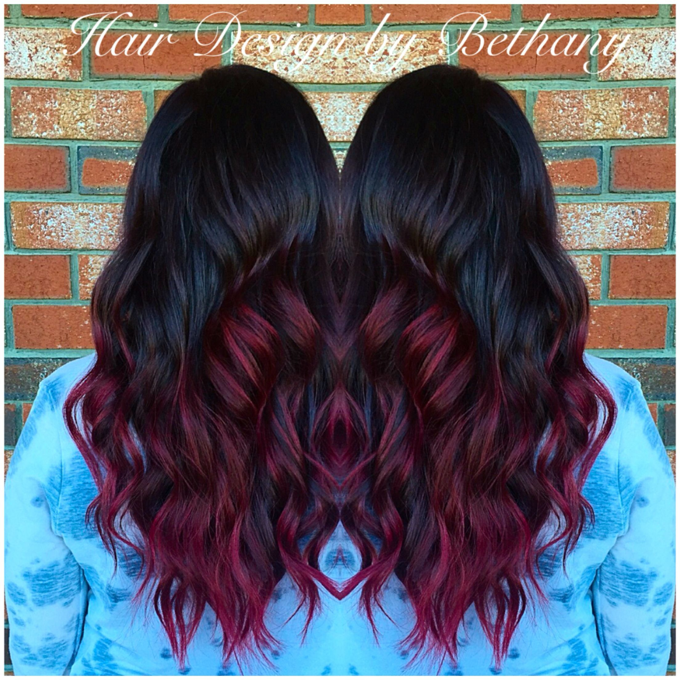 Red hair balayage color melt ombre sombre red curls violet red