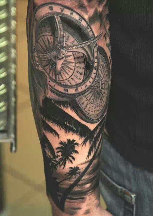 Sleeve Ideas On Pinterest Palm Tree Tattoos Clock Tattoos And