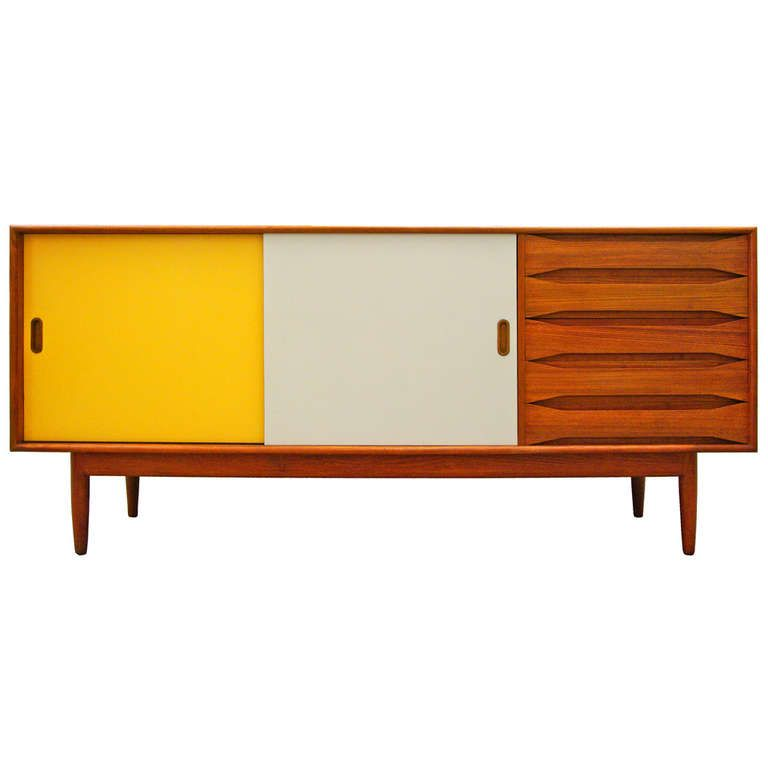 Johannes Aasbjerg; Natural and Lacquered Teak Sideboard, 1960 ...