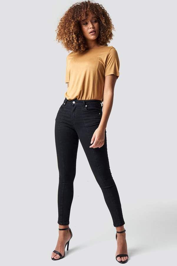 e4ff61c9b74c NA-KD Na Kd Skinny Mid Waist Front Panel Jeans Black in 2019 ...