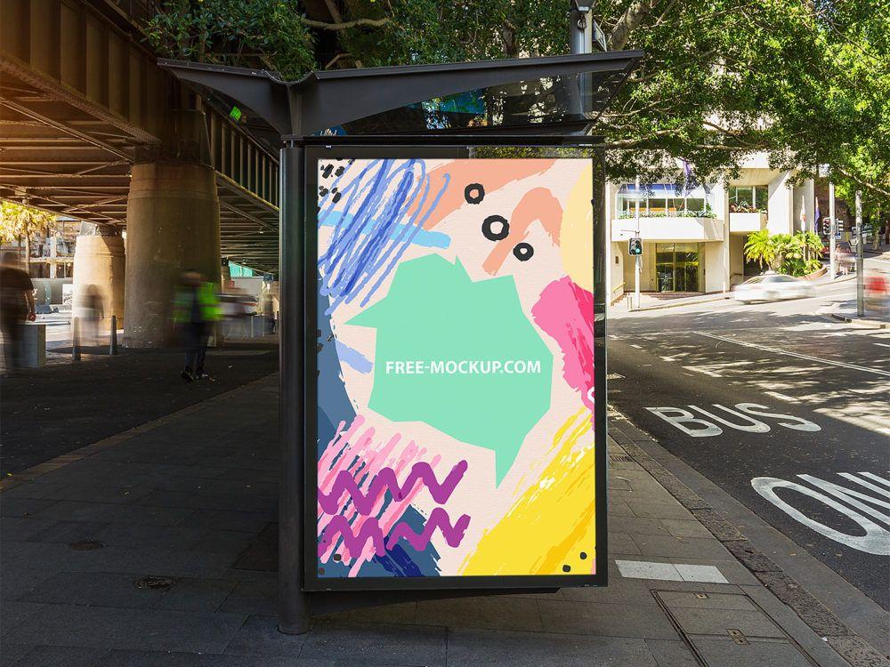 Outdoor Bus Stop Advertisement Vertical Billboard Poster Mockup Free Mockup Poster Mockup Free Poster Mockup Bus Stop