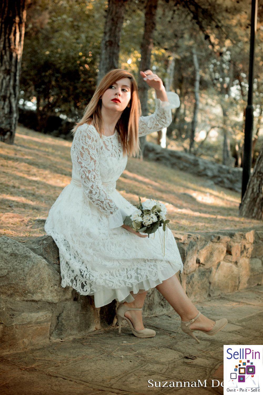 50s wedding dress lace    Lace Wedding Dress s Ivory Open Back Vintage Dress Retro