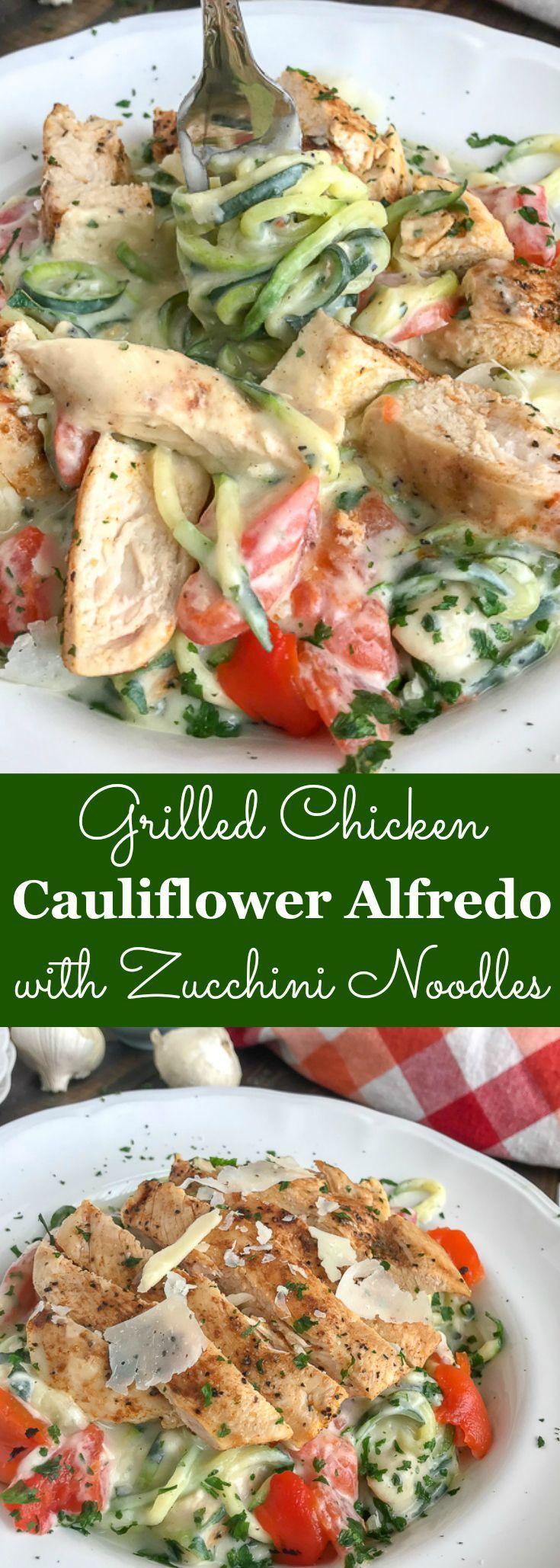 Grilled Chicken Cauliflower Alfredo with Zucchini Noodles | WPBOT #zucchininoodles