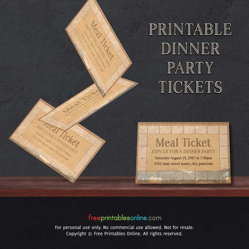Vintage Paper Printable Meal Ticket Template (Free Printables Online)  Dinner Tickets Template