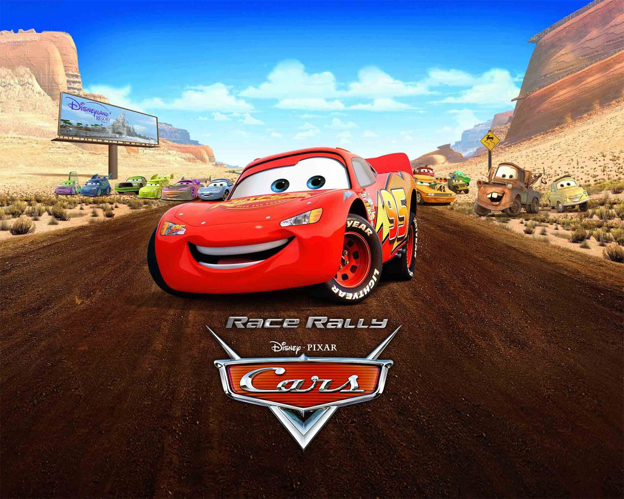 While more fans cheered outside lightning mcqueen the for Disney pixar cars mural wallpaper