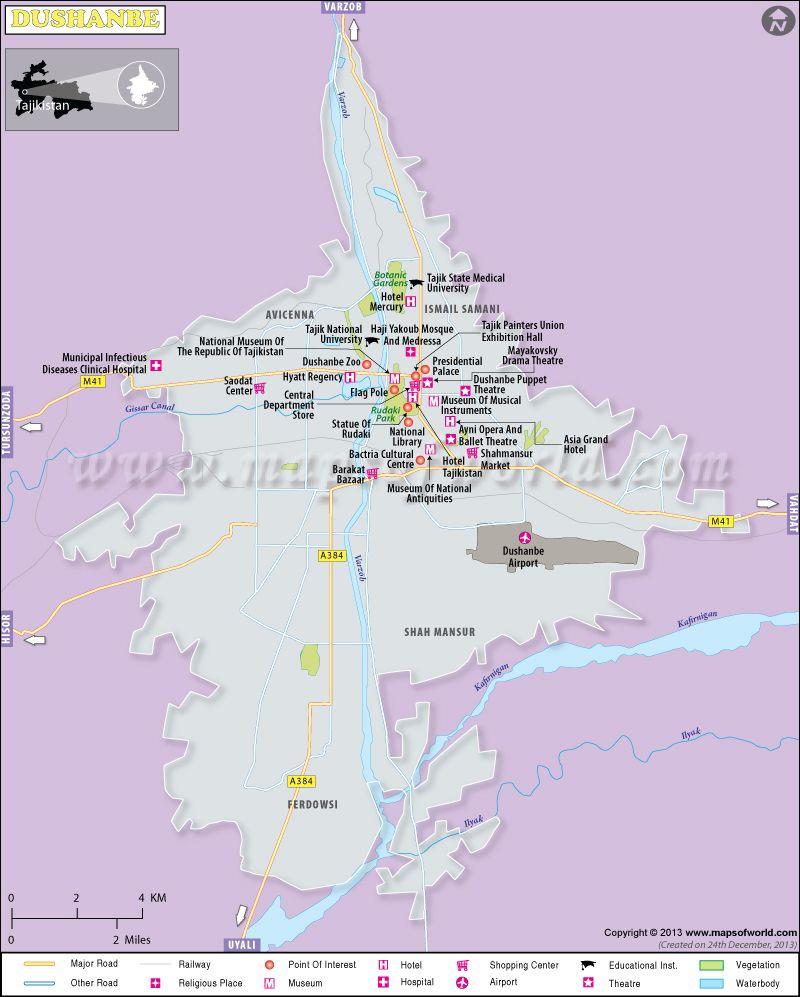 Dushanbe Map Tajikistan Pinterest Airport Hotel Tourist - Middle east map dushanbe