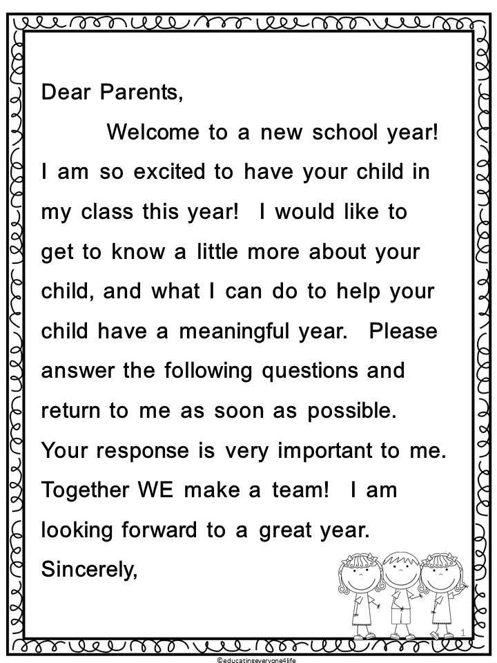 Back To School Parent Letter and Survey Letter to