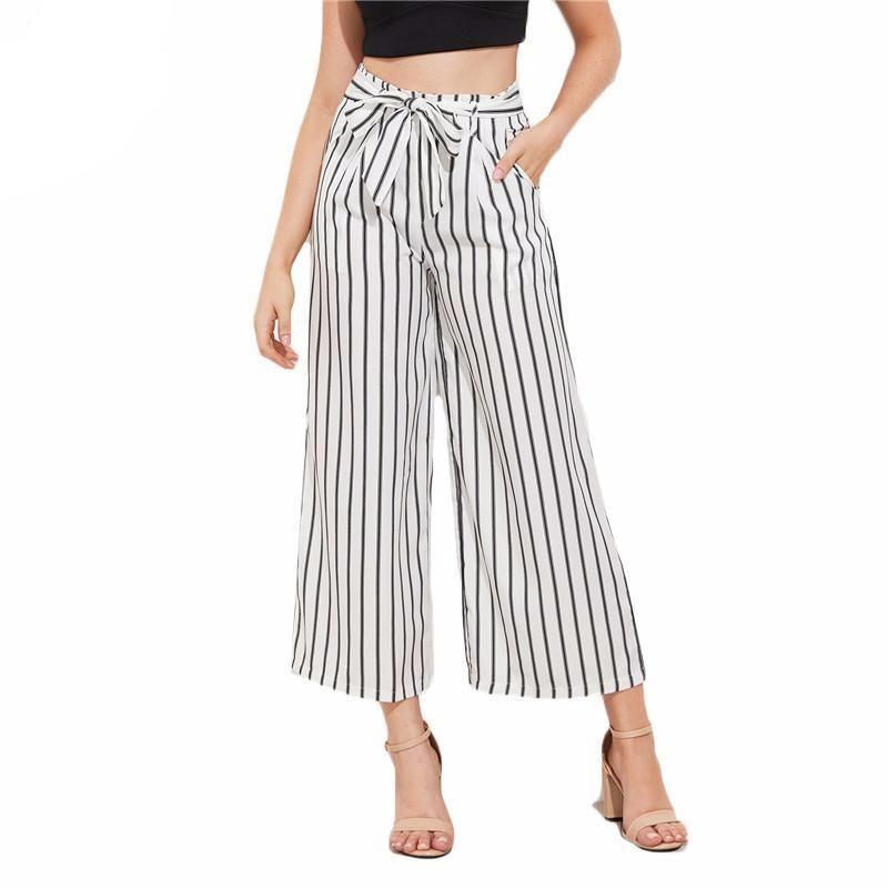cf7d2dbe12 Women Wide Leg Stripe Print Cropped Pants | Women's Dresses & Accessories  For Less