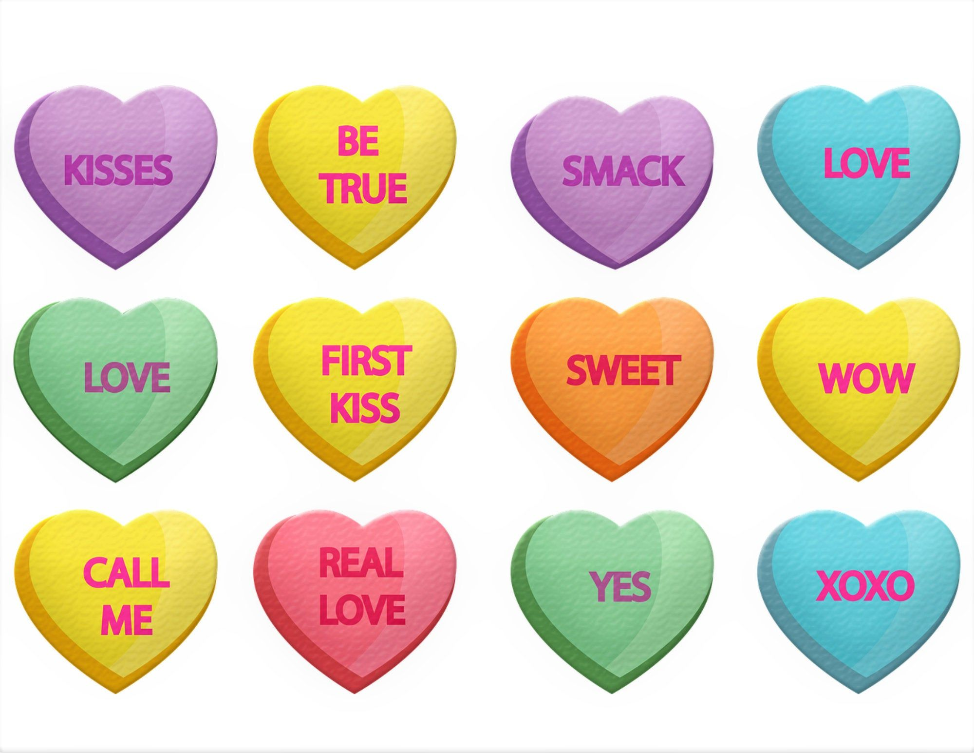 Conversation Hearts Window Clings Candy Sweethearts Sparkling Stained Glass Color 3d Vinyl Valent Window Clings Converse With Heart Valentines Day Hearts