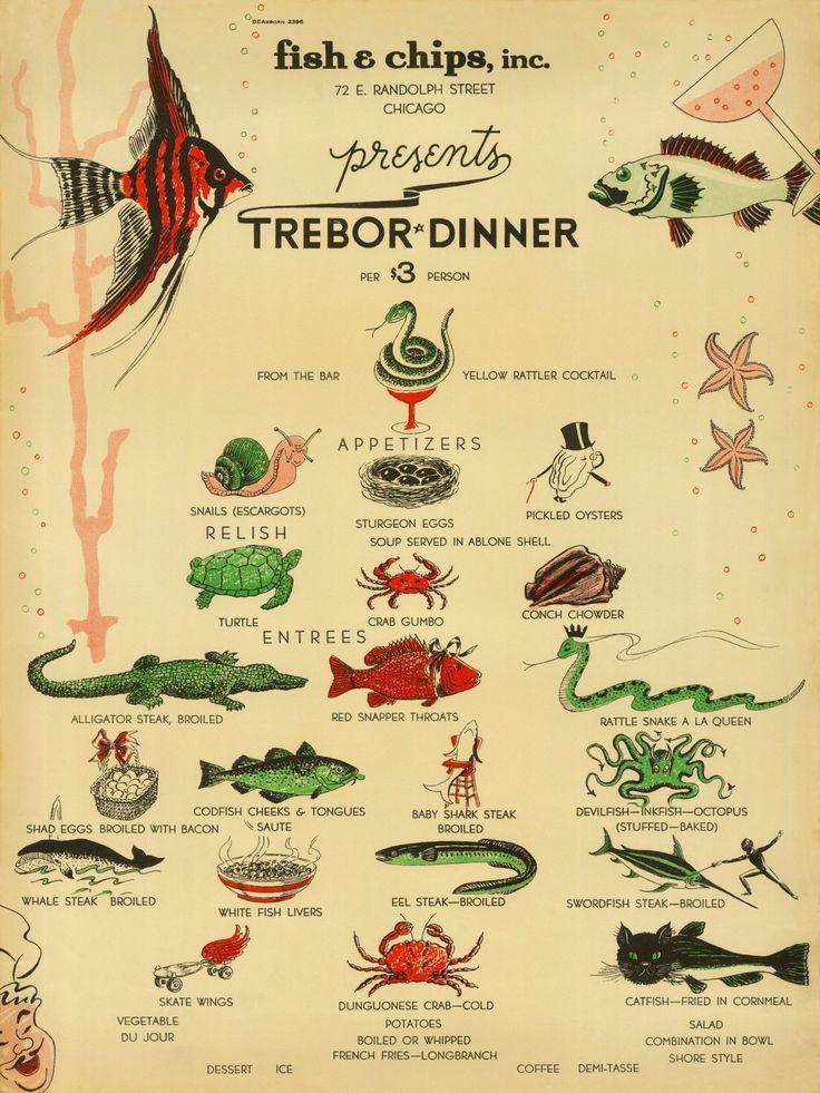 Image result for old cookbook illustrations seafood Fish