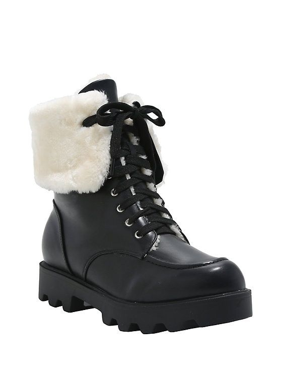 83c6aa3609 Black Faux Fur Lined Combat Boots in 2019 | Hot Topic | Combat boots ...