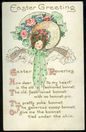 Easter Greetings Postcard With Young Lady And Her Easter Bonnet