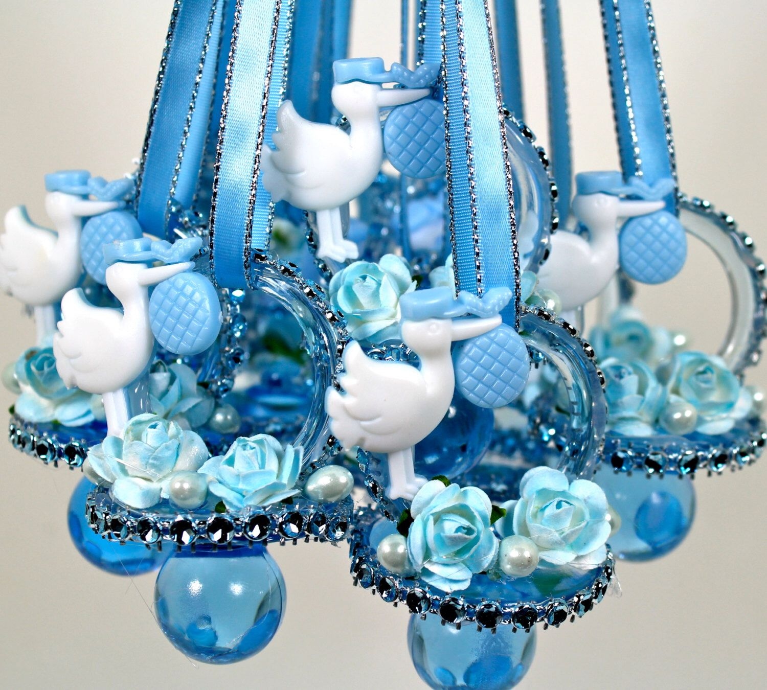 Blue Baby Shower Pacifiers Necklace (12 Pcs) / Baby Shower Games /  Rhinestone Mesh