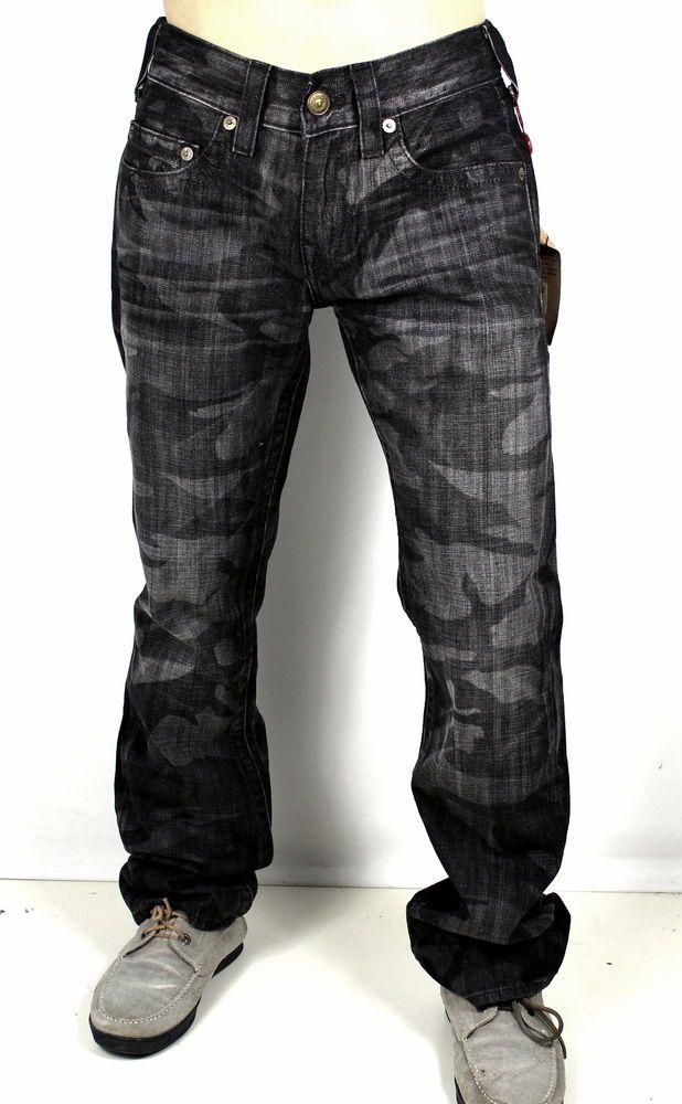 True Religion Men's Bobby Black Laser Camo Straight Brand Jeans ...