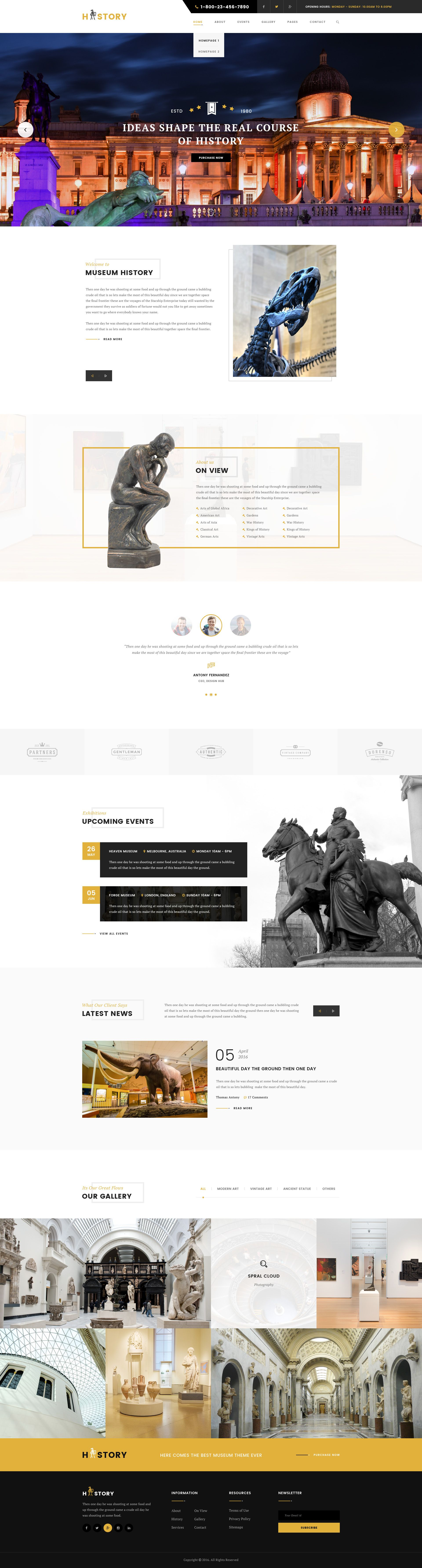 History : Museum PSD Template   Psd templates, Template and Museums