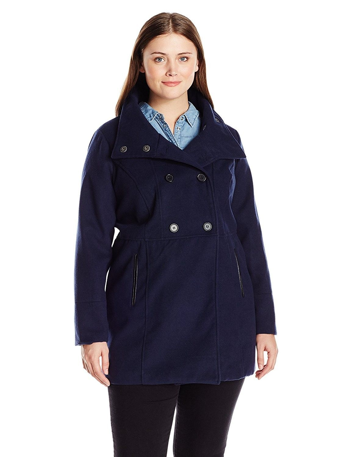 8bcbc938f95e4 Women s Plus Size Double Breasted Stand Collar Solid Wool Jacket - Navy -  CQ111SLAZ1P