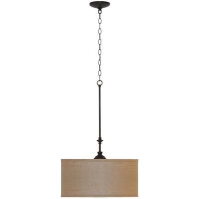 Home Depot Pendant Lights For Kitchen Hampton Bay Quincy 3Light Oilrubbed Bronze Drum Pendant With