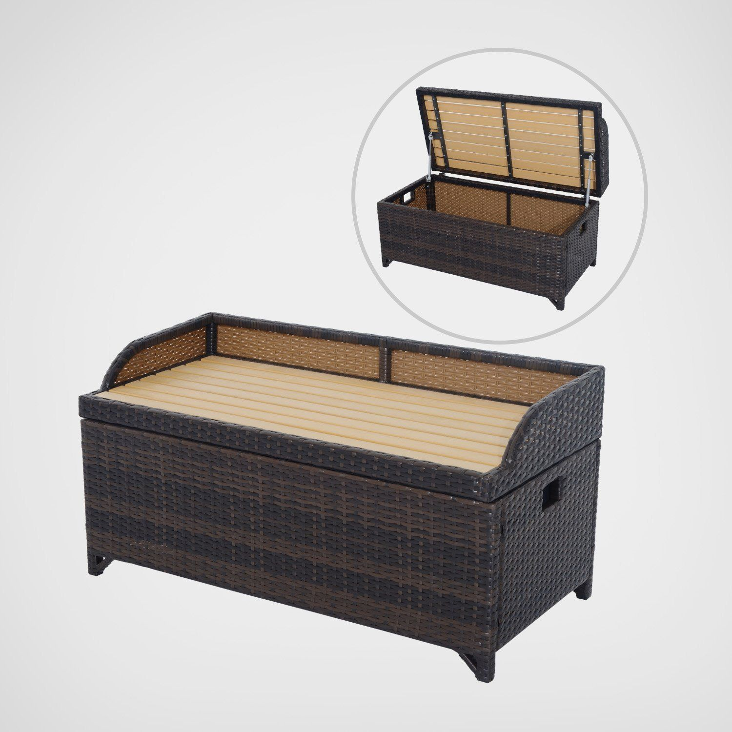Outsunny Rattan Storage Cabinet Cushion Box Chest Bench Patio