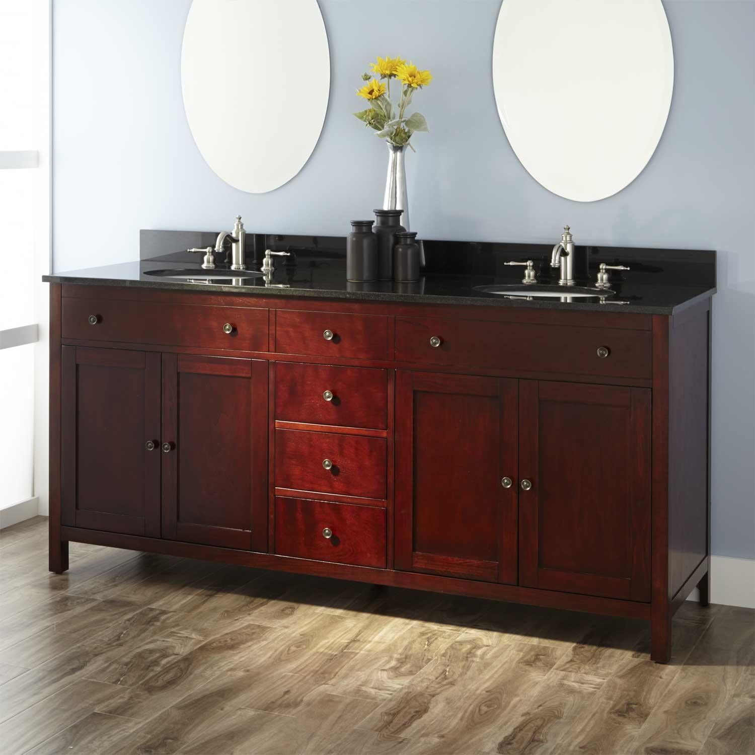 "72"" Vargas Cherry Double Vanity With Carrera Marble Top And White New Cherry Bathroom Vanity Decorating Inspiration"