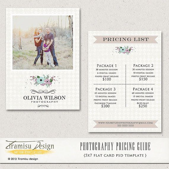 Photography Price List Photography Pricing Guide Price List - Free pricing template for photographers