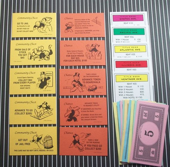 35 Monopoly Game Money Chance Cards Community Chest etc For ...