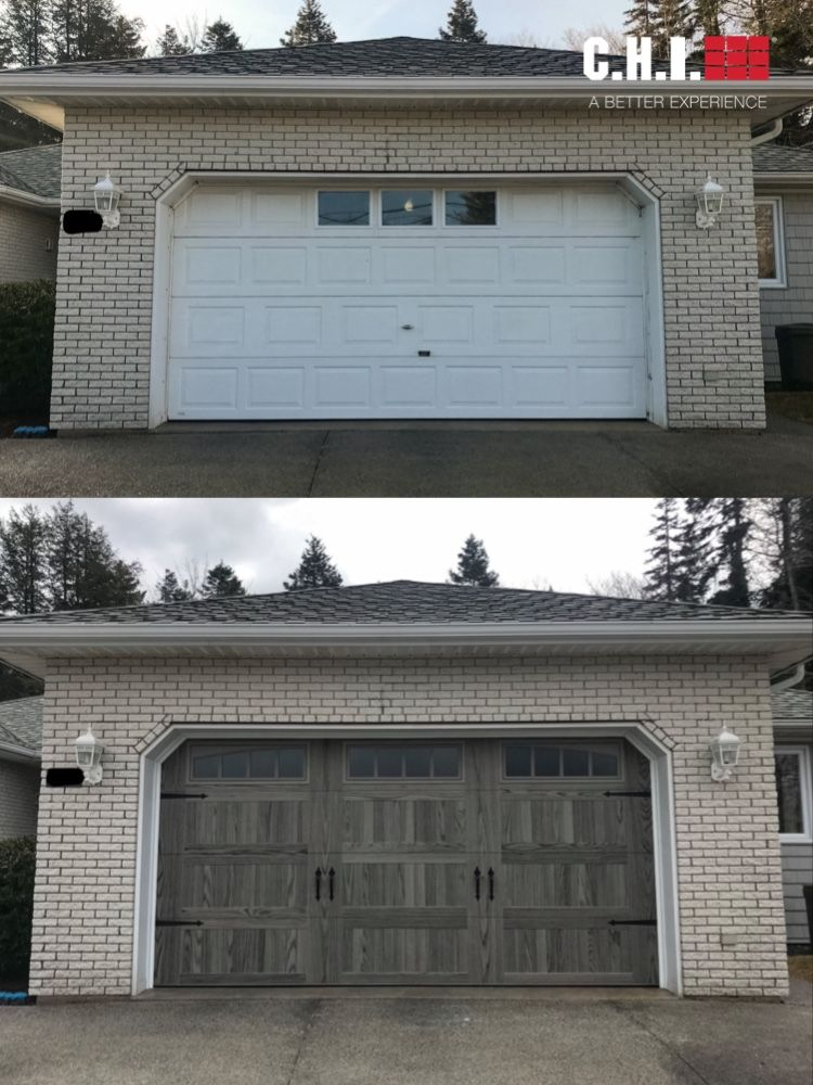 Before After Stamped Carriage House Garage Door In Driftwood Accents Woodtones In 2020 Garage Door Styles Garage Doors Carriage House Garage Doors
