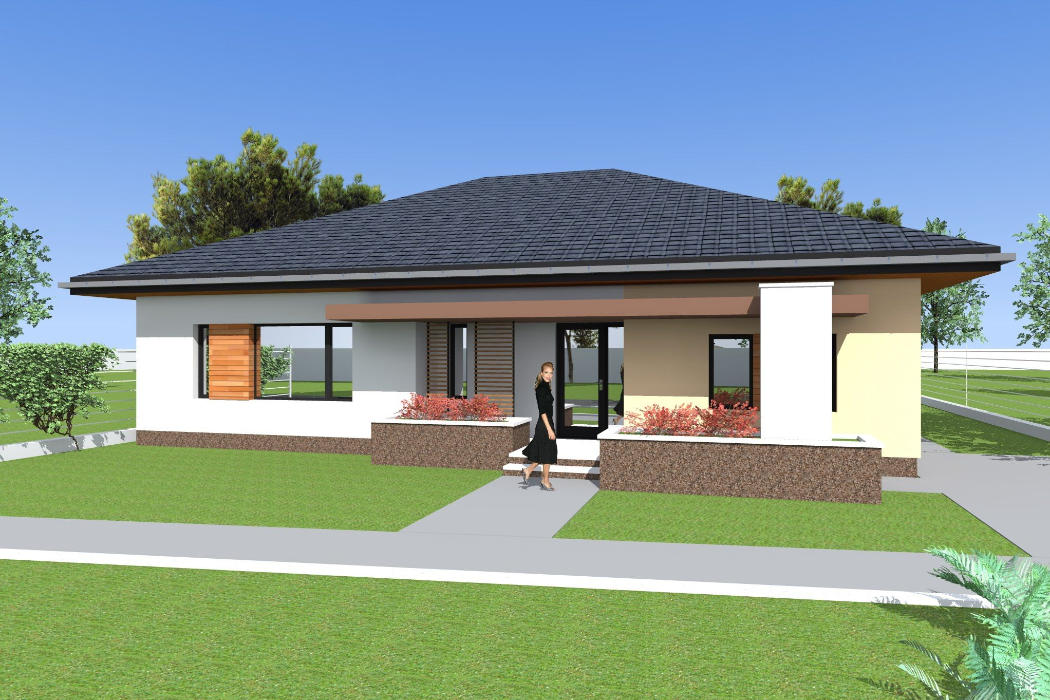 Three bedroom Bungalow design and 3d elevations. Single