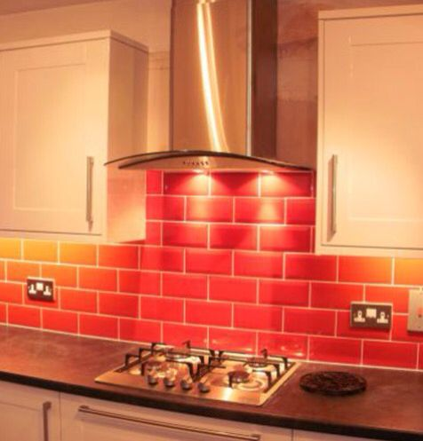 Metro Red As A Splash Back Trendy Kitchen Backsplash Red
