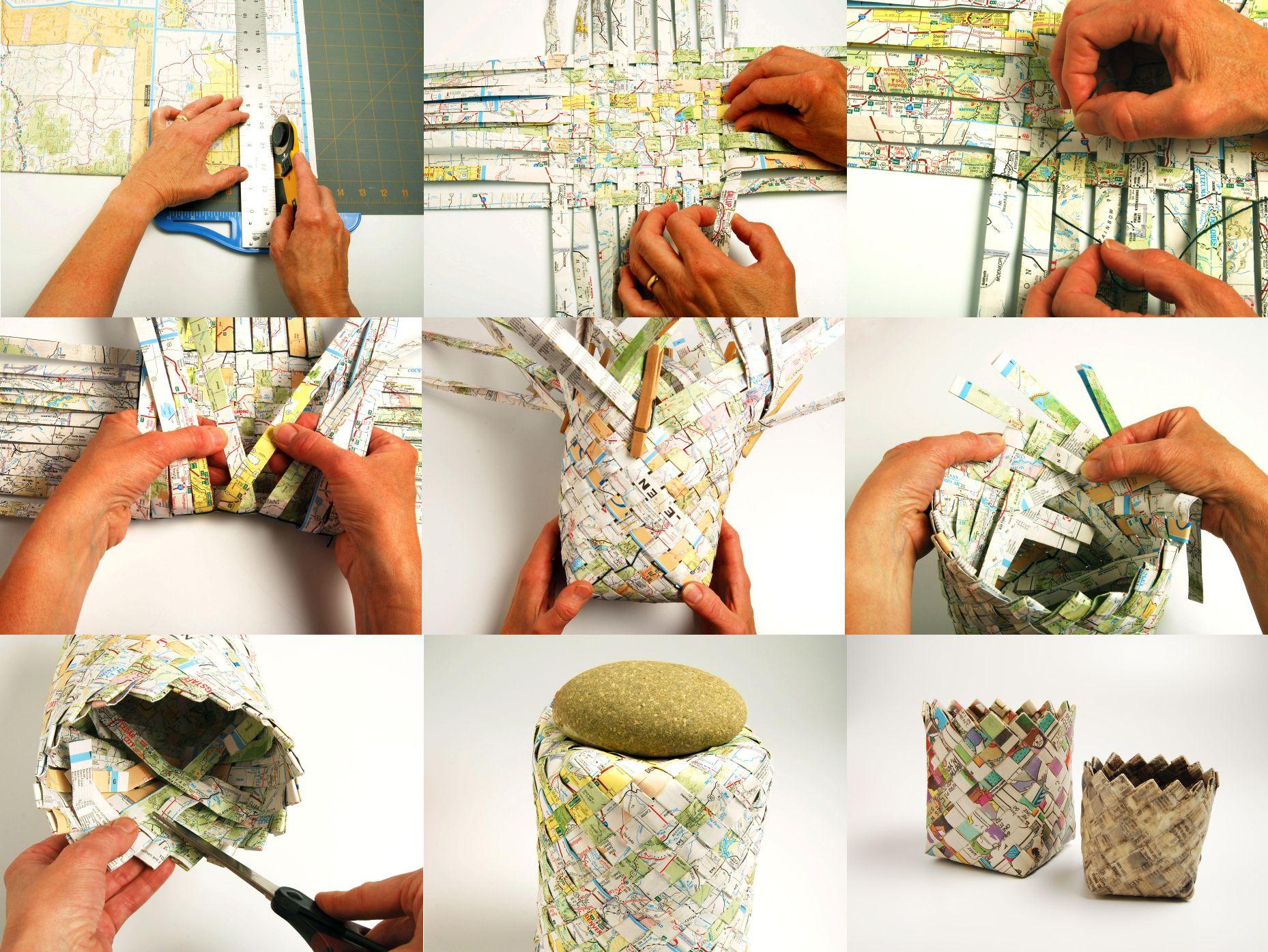 Tutorial hacer cestos con papel reciclado apoa 2014 - Cosas para hacer en casa ...
