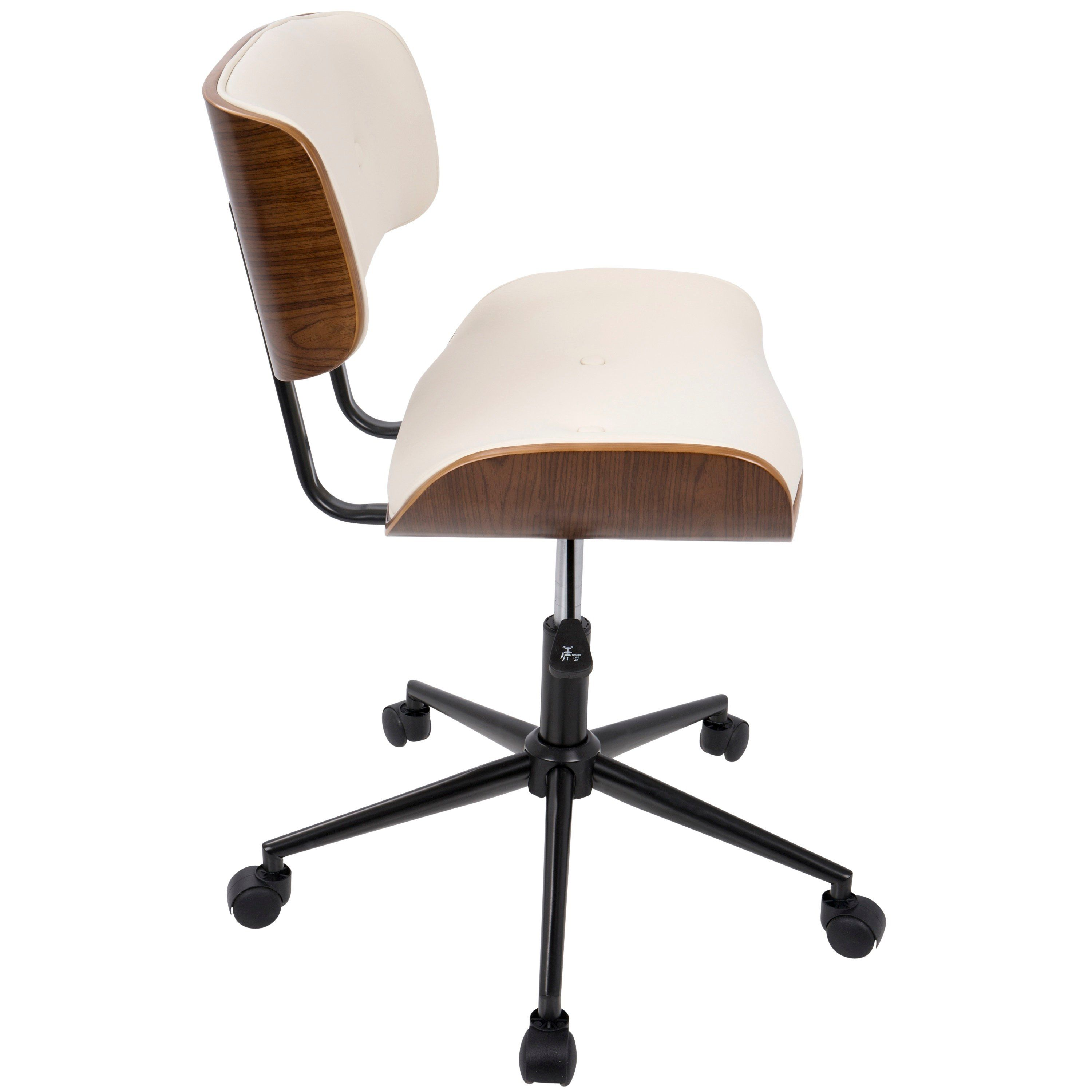 Walnut And Cream Mid Century Modern Office Chair Lombardi In