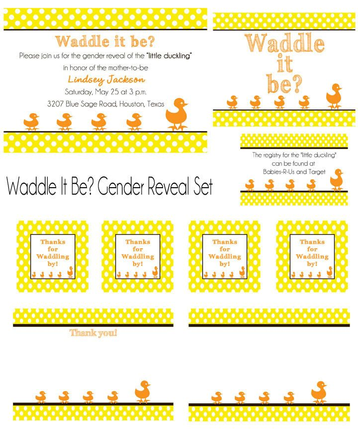 PRINTABLE Waddle It Be Ducks Baby Shower or Gender Reveal Invitation - colors can be changed. $30.00, via Etsy.