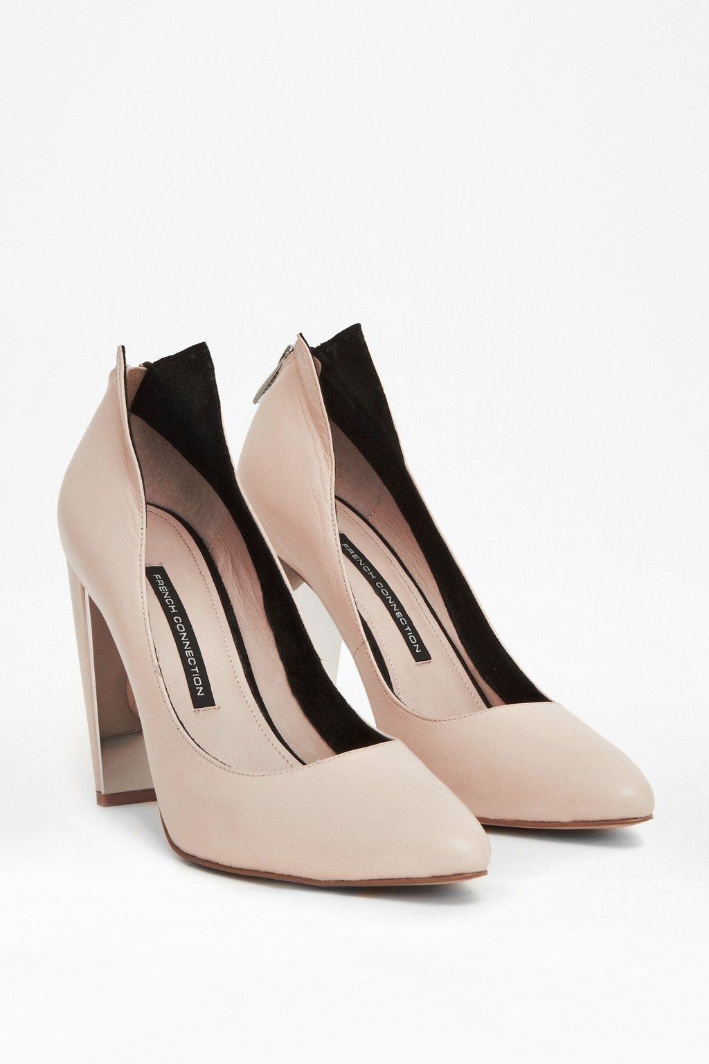 Myka Zipped Leather Court Heels - French Connection