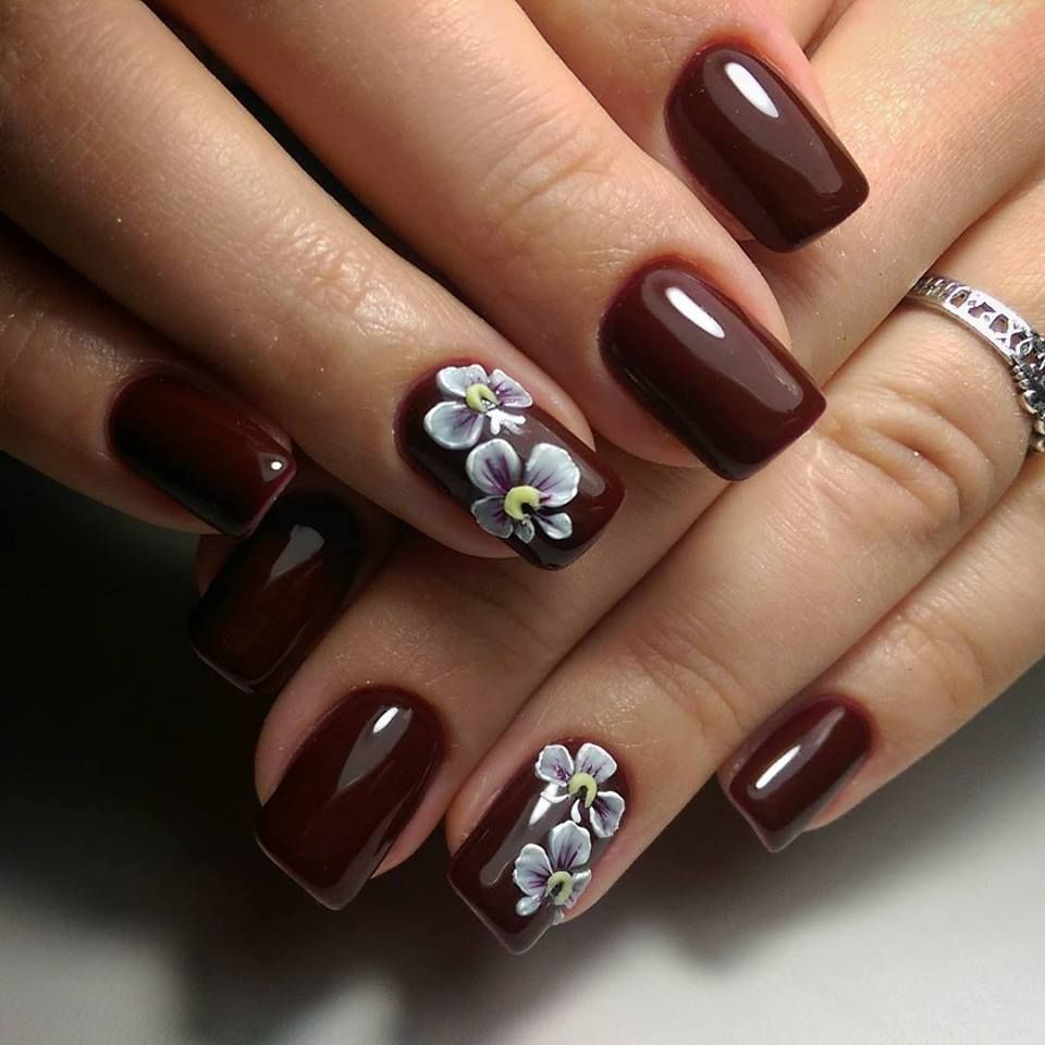 Endearing Maroon Floral 3D Nail Art Design - 51 Stunning 3D Nail Art Designs To Look Ravishing In Every Outfit