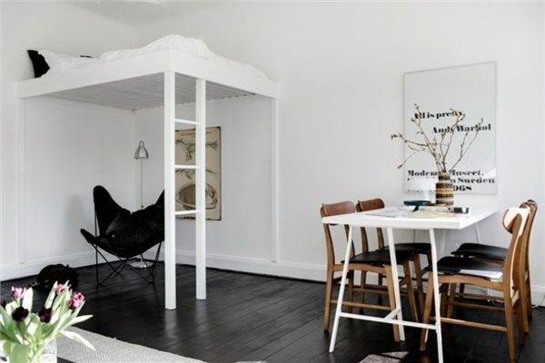 einraumwohnung einrichten operieren sie clever mit ihrem raum interior ideen pinterest. Black Bedroom Furniture Sets. Home Design Ideas
