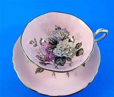 Hydrengea Bouquet on Pink Background Paragon Tea Cup and Saucer Set