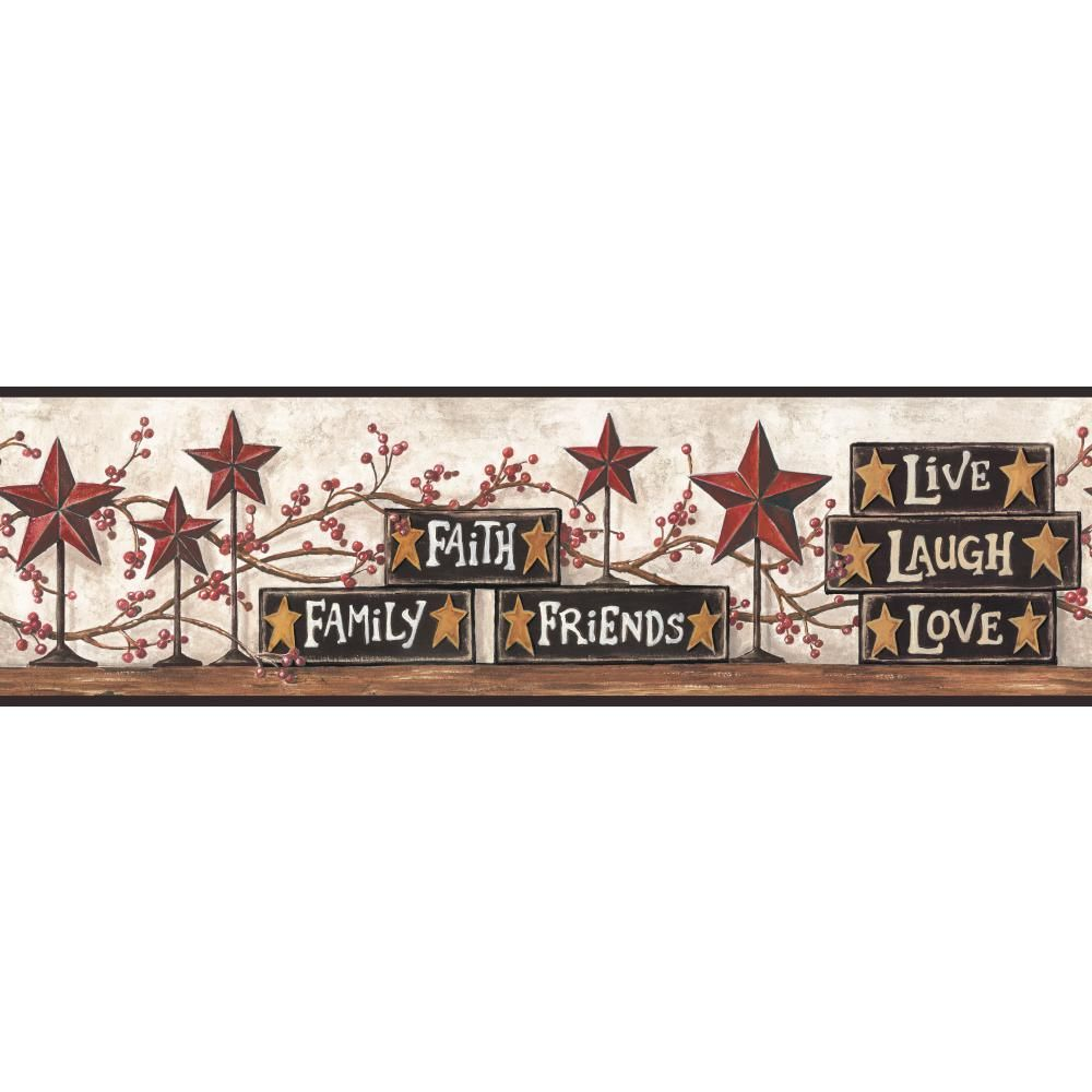 Country Blocks and Stars Burgundy Wallpaper Border Home