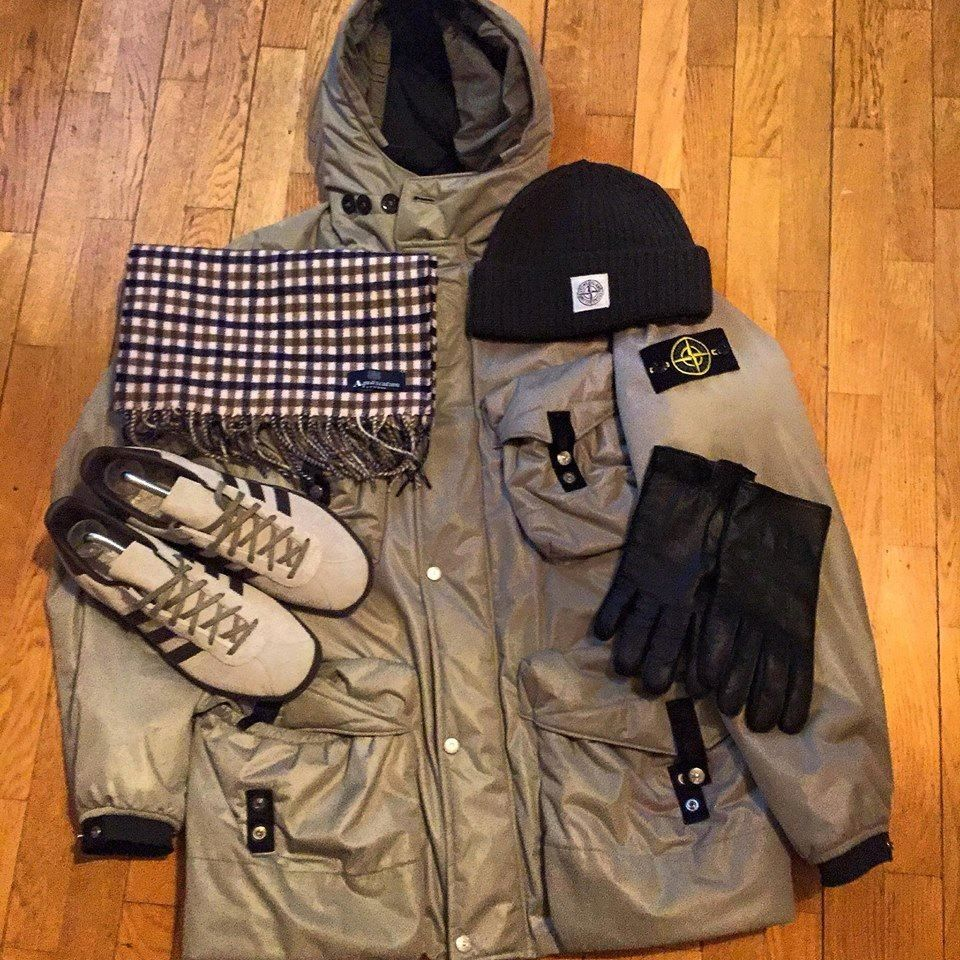 Iconic Casuals. Stone Island jacket and hat, Aquascutum scarf, Adidas trainers